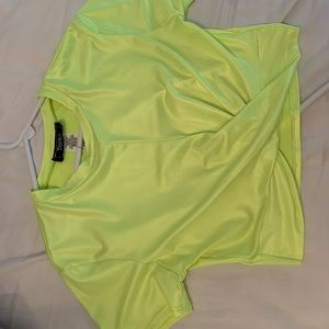 Neon Yellow Crop Top with Tassle
